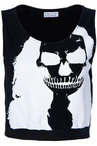 White Long-haired Skull Printed Black Tank Top
