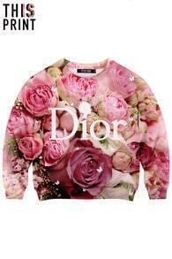 This Is Print Letters & Roses Print Sweatshirt