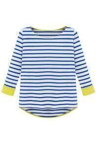 Long Sleeve Blue Striped Dipped Hem T-shirt