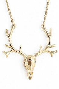 Deer Head Shaped Golden Necklace