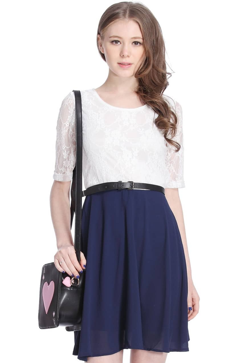 Galerry lace dress long white