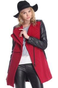ROMWE Faux Leather Panel Zippered Burgundy Coat