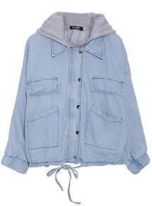 ROMWE Detachable Two Piece Hooded Light Blue Coat