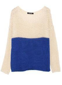 Dual-tone Hollow Perspective Knitted Jumper
