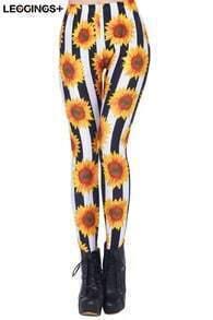Sunflowers Print Black & White Leggings