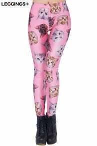 Cats' Heads Print Pink Leggings