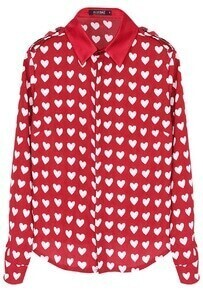 ROMWE White Heart Pattern Red Chiffon Shirt