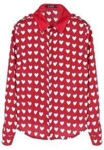 ROMWE White Heart Pattern Red Chiffon Shirt