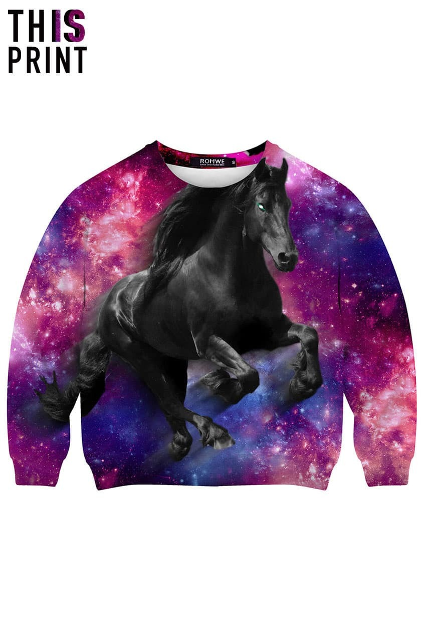 this is print the black horse in galaxy print