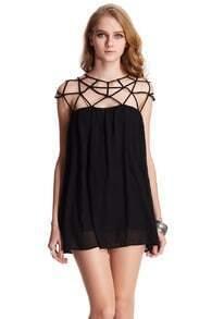 ROMWE Cut-out Upper Sleeveless Black Smock Dress
