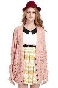 Hollowed V-neck Pink Cardigan