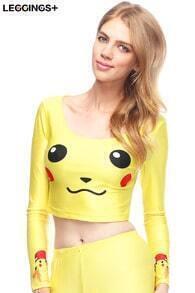 Pikachu Face Print Yellow T-shirt