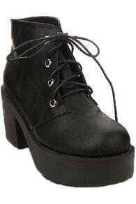 Tied Black Platform Ankle Boots