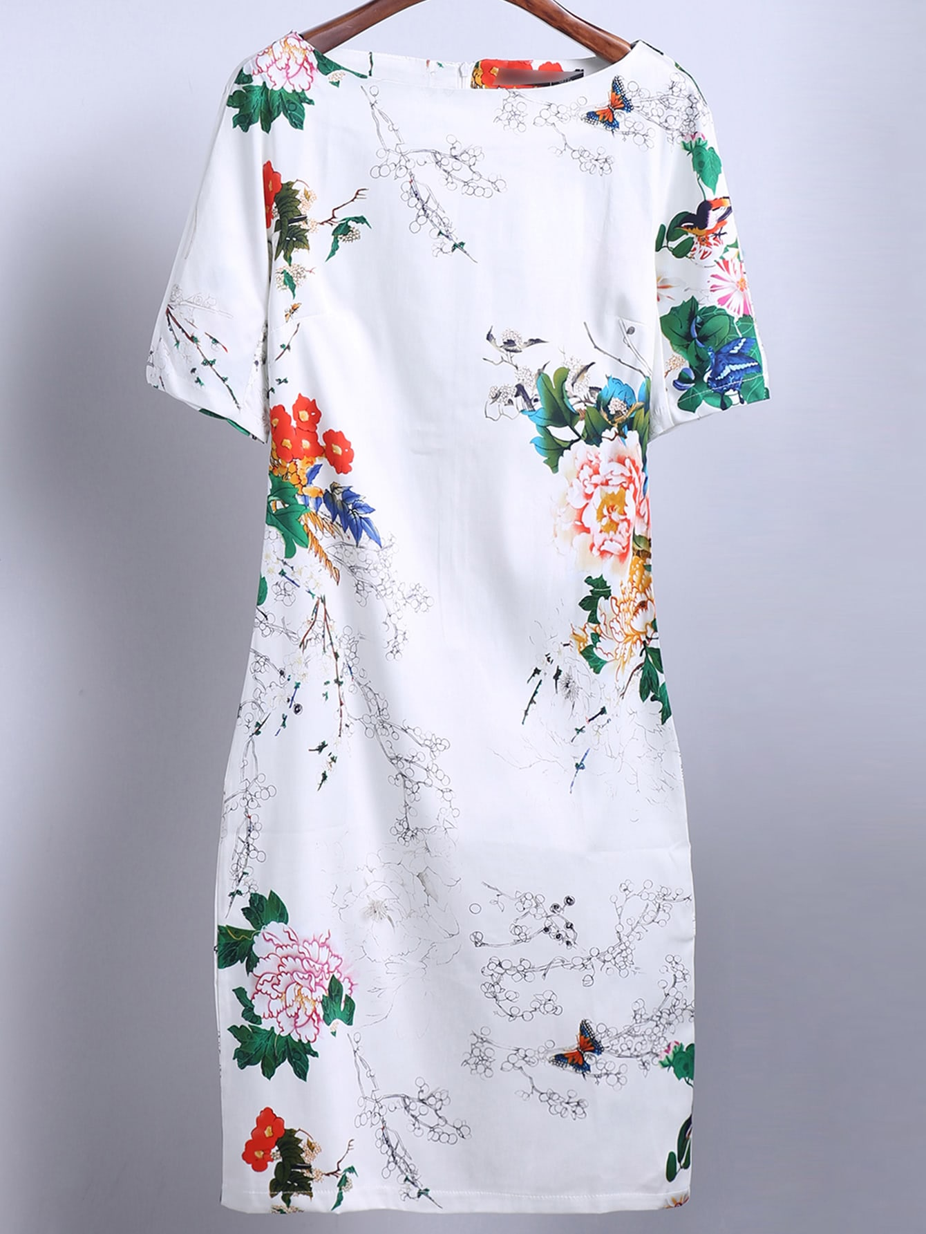Floral Print Slim White Dress - $19.69
