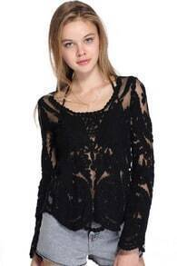 ROMWE Hollow-out Lace Crochet Black Blouse