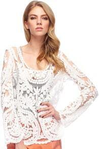 ROMWE Hollow-out Lace Crochet White Blouse