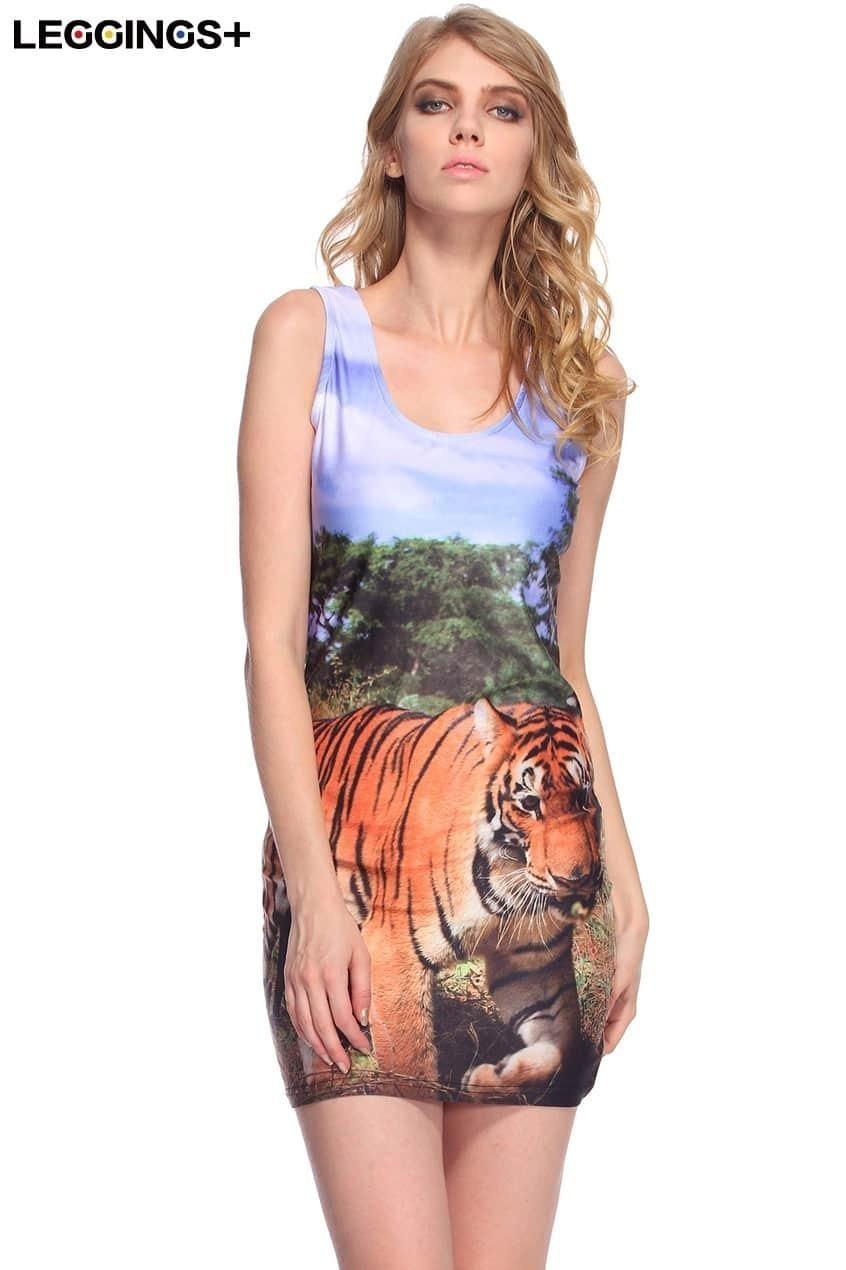 Forest Tiger Print Tank Dress