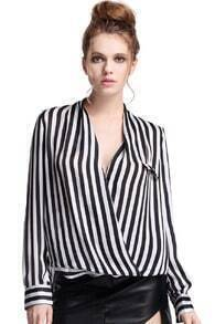 ROMWE White And Black Fluid Striped Shirt