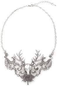 Deer Head Pendant Silver Necklace