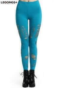 ROMWE Broken Hole Skinny Slit Turquoise Solid Color Leggings