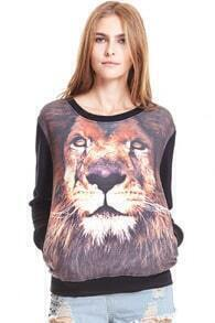 ROMWE Lion Head Print Long Sleeved Black Sweatshirt