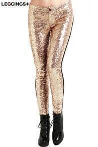 ROMWE Golden Sequined Black Panel Leggings