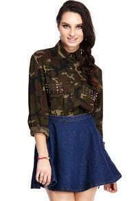 Riveted Pockets Camouflage Shirt