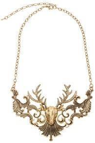 Deer Head Golden Necklace