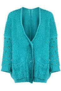 Green Oversized Riveted Cardigan
