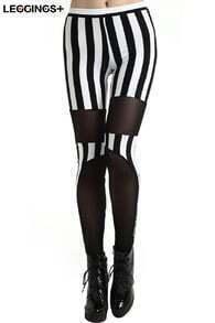 ROMWE Mesh Panel Detail Striped Black Leggings