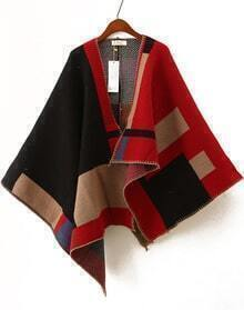 Colour Block Batwing Cape