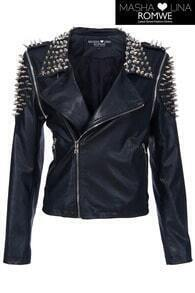 Riveted Black Fake Leather Jacket