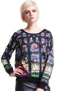Portrait Print Black Pullover