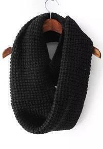 Collar Knitted Black Scarf