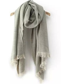 Solid-colored Fringe Scarf-Grey