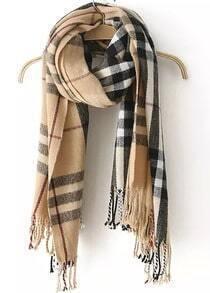 Check Print Tassel Knit Scarf-Beige