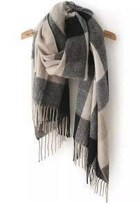 Check Print Tassel Black and Grey Scarf