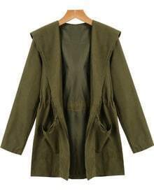 Hooded Pockets Loose Green Coat