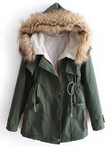 Faux Fur Hooded Drawstring Green Coat