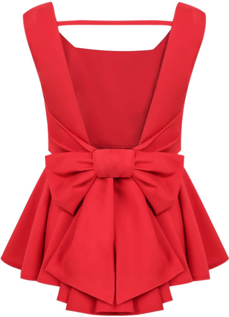 Backless Bow Pleated Blouse