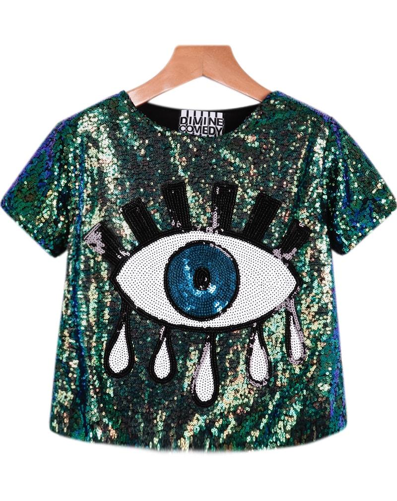 sequined eye pattern t shirtfor women romwe. Black Bedroom Furniture Sets. Home Design Ideas