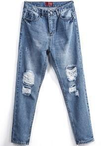 Pockets Ripped Denim Pant