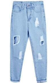 Ripped Denim Blue Pant