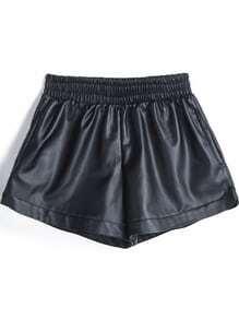 Shorts PU cintura elástica-negro
