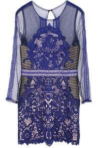 Embroidered Sheer Mesh Lace Dress