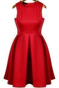 Sleeveless Flare Red Dress