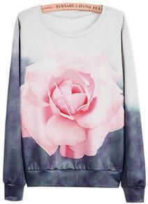 Ombre Floral Print Sweatshirt