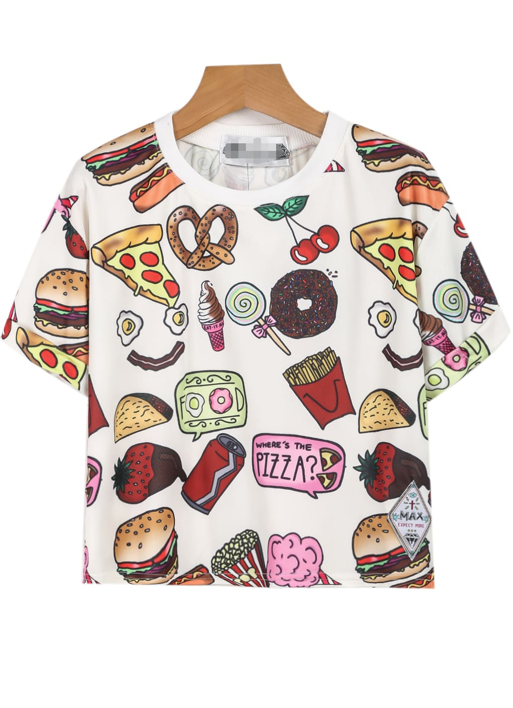 Food print loose teefor women romwe for Where to print shirts