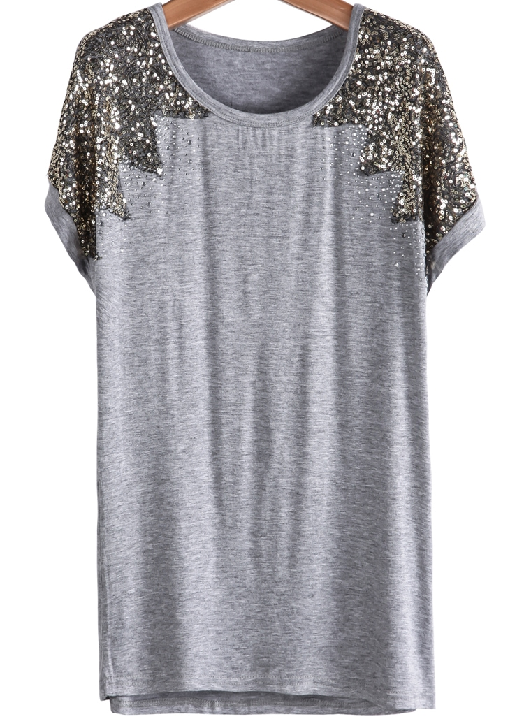 sequined loose grey t shirtfor women romwe