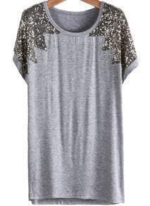 Sequined Loose Grey T-Shirt